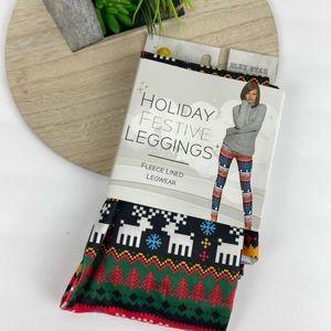 New- Holiday Fleece Lined leggings S/M